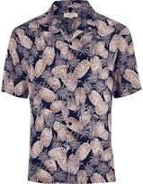 River Island Mens Big and Tall navy print short sleeve shirt