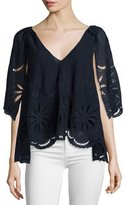 The Great The Caped Flutter Lace Top, Midnight