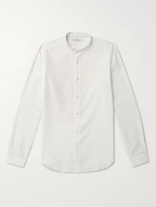 Boglioli Grandad-Collar Striped Cotton-Seersucker Shirt