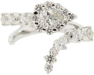 YEPREM 18kt White Gold Round Pear Diamond Ring