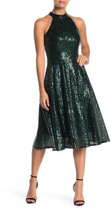 Taylor Sequin Mock Neck Flare Dress