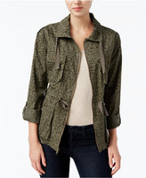Bar III Leopard-Print Anorak Field Jacket, Only at Macy's