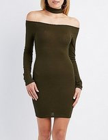 Charlotte Russe Ribbed Choker Neck Dress