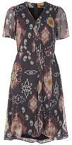 SET Chiffon Wrap-Style Print Dress