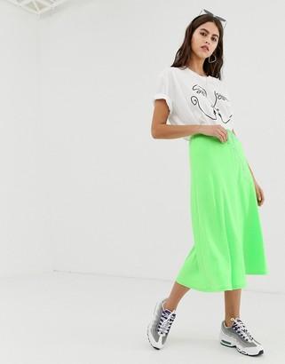 Zya ZYA midi skirt with waist strap detail-Green