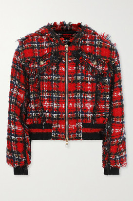 Balmain Hooded Checked Tweed Bomber Jacket - Red