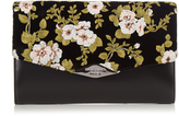 Rochas Floral-embroidered velvet and leather clutch