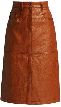 MSGM Honey Faux Leather Midi Skirt