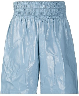 Bottega Veneta Blue Shiny Leather Boxing Shorts