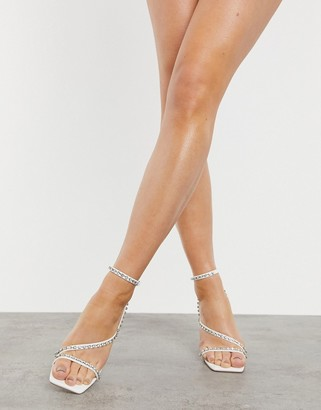 London Rebel bridal square-toe strappy heeled sandals with embellishment in white