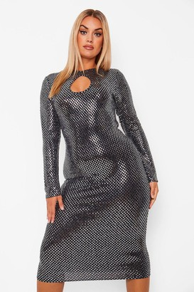 boohoo Plus Sequin Cut Out Midi Dress
