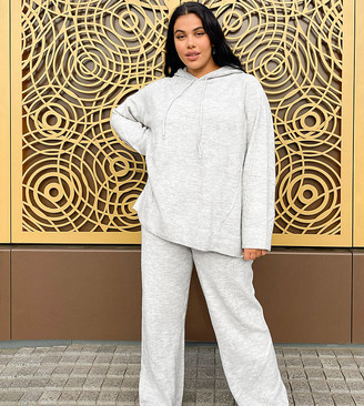 ASOS DESIGN Curve co-ord oversized knitted hoody in grey marl