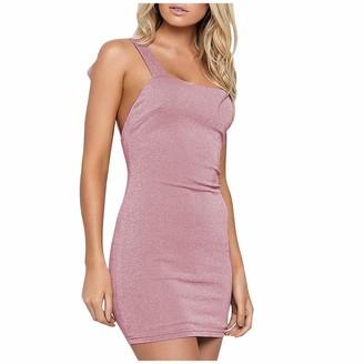 kolila Women's Adjustable Spagetti Strappy Split Summer Beach Sexy Midi Dress Lace Up Back Bandage Bodycon Mini Dress (Pink S)
