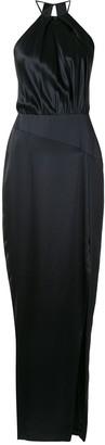 Mason by Michelle Mason Pleat Halter silk gown