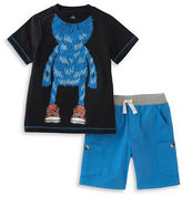 Kids Headquarters Baby Boys Two-Piece Sneakered Monster Graphic Tee and Shorts Set