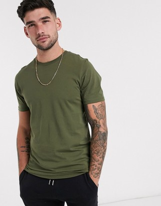 Jack and Jones Essentials t-shirt in organic cotton with crew neck in khaki