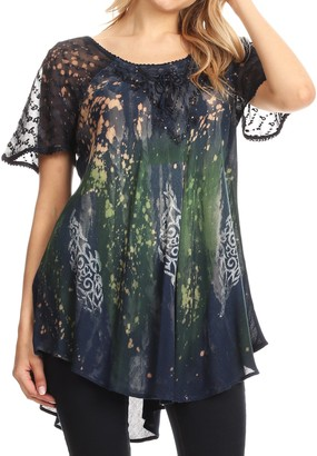 Sakkas 18711 - Jannat Short Sleeve Casual Work Top Blouse in Tie-Dye with Embroidery Lace - Teal - OS