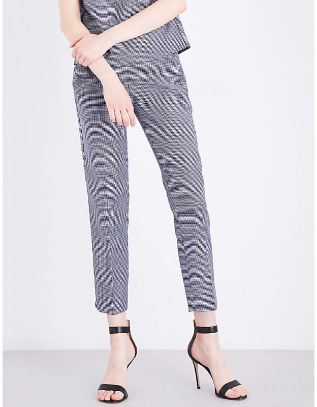 Max Mara Astrale hounsdtooth cropped wool-blend trousers