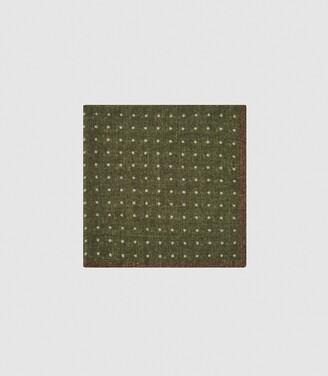 Reiss Naples - Wool Polka Dot Pocket Square in Dark Green