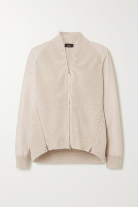 Akris Ribbed Cashmere And Leather Cardigan - Beige