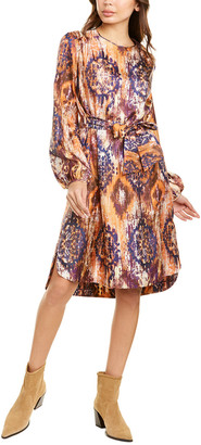 Les Copains Printed Silk Midi Dress