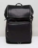 Asos Backpack In Faux Leather With Chunky Zip Details