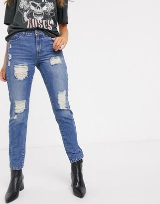 JDY Jazz ripped boyfriend jeans