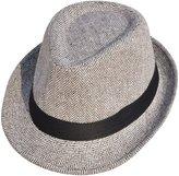 Simplicity Unisex Pinstripe Band Fedora Hat, Grey