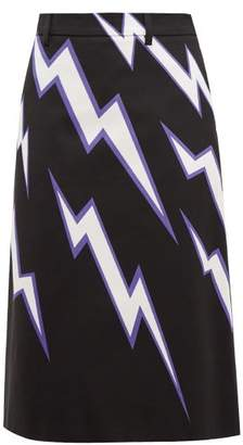 Prada Lightning Bolt-print Cotton-poplin Skirt - Womens - Black Multi