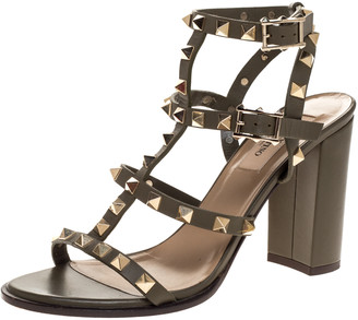 Valentino Olive Green Leather Rockstud Block Heel Ankle Strap Sandals Size 37