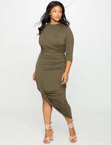ELOQUII Plus Size Three Quarter Sleeve Draped Jersey Dress