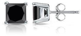 Auriya 14k Gold 1 1/4ctw Princess-cut Black Diamond Stud Earrings
