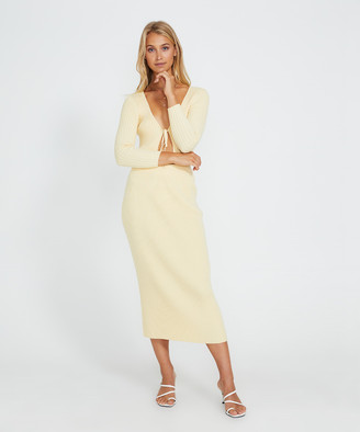 Alice In The Eve Heidi Rib Knit Skirt Mellow Yellow