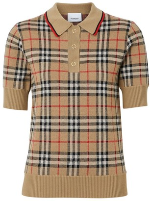 Burberry Vintage Check Merino Wool Polo Shirt