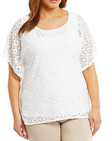 Ruby Rd. Plus Butterfly Sleeve Geo Emblem Lace Butterfly Top