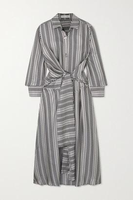 Palmer Harding palmer//harding - Julia Tie-front Checked Satin-jacquard Midi Dress - Navy