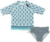 Carter's Baby Girl Pattern Rashguard & Striped Swimsuit Bottoms Set