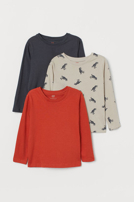 H&M 3-pack Jersey Shirts - Brown