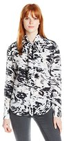 Rachel Zoe Women's Linley Silk Marbled Spot Tie-Neck Blouse