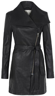 West 14th Washington Street Drape Trench Black Leather