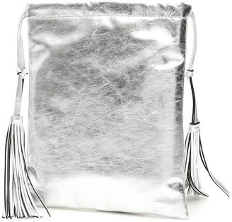 ATTICO Metallic Drawstring Bucket Tote Bag