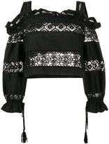 Alberta Ferretti lace embroidery off shoulder top - women - Cotton/other fibers - 38