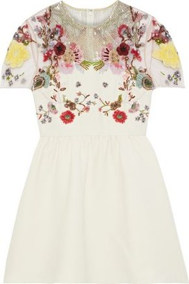 Valentino Embellished Tulle-paneled Wool And Silk-blend Cady Mini Dress