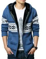 WSLCN Men's Warm Knit Hooded Cardigan Fleece Lined Argyle Patterned
