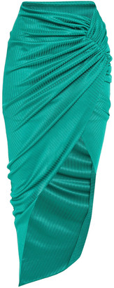 Alexandre Vauthier Asymmetric Ruched Metallic Ribbed-knit Skirt