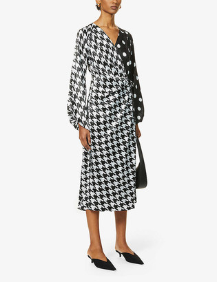ART DEALER Contrast print silk-satin midi dress