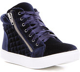 Steve Madden Girls J-Cafine Velvet Lace-Up Side Zip High Top Sneaker