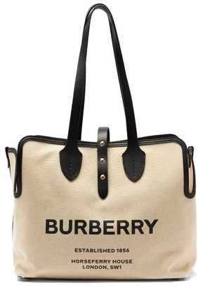 Burberry Tb-print Leather-trimmed Cotton Tote Bag - Black Multi