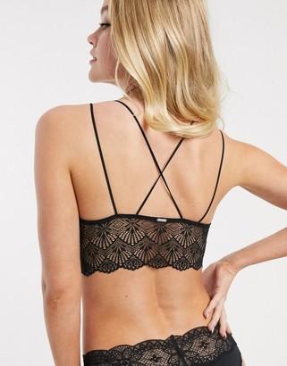 Gilly Hicks long line strappy back lace bralet-Black