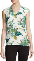 Liz Claiborne Sleeveless V Neck Print Blouse-Talls